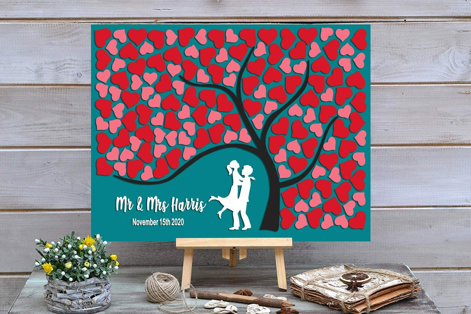 Max 59% OFF PotteLove Personalized Rustic Wooden Wedding Book with New item Guest Red