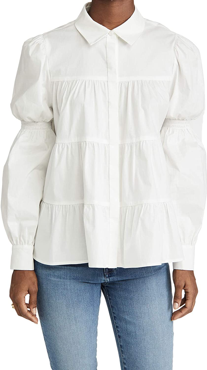 WAYF Women's Hope Tiered Button Up Blouse