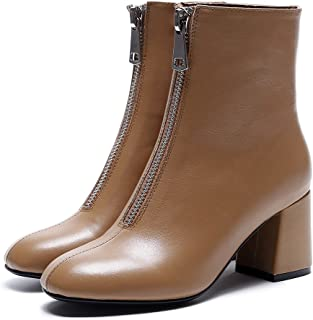 Round Thick with Boots and Women Fashion Cow Leather Heels