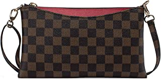 Small Checkered Crossbody Bag for Women Wristlet Clutch...