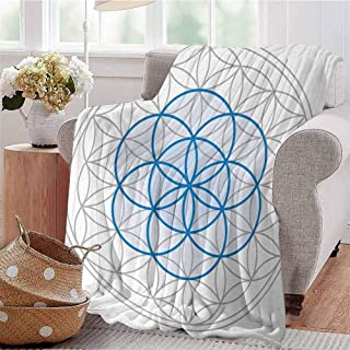 Summer Comforter Blanket Several Interlace Round Shaped Ovals Legendary Sacred Knot of Life Artwork Warm Taupe Blue Sofa Camping Reading Car Travel W57 xL74