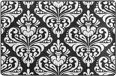 Floral Damask Pattern Doormat Entrance Mat Floor Mat Rug Indoor/Outdoor/Front Door/Bathroom Mats Rubber Non Slip 36 x 24 Inch