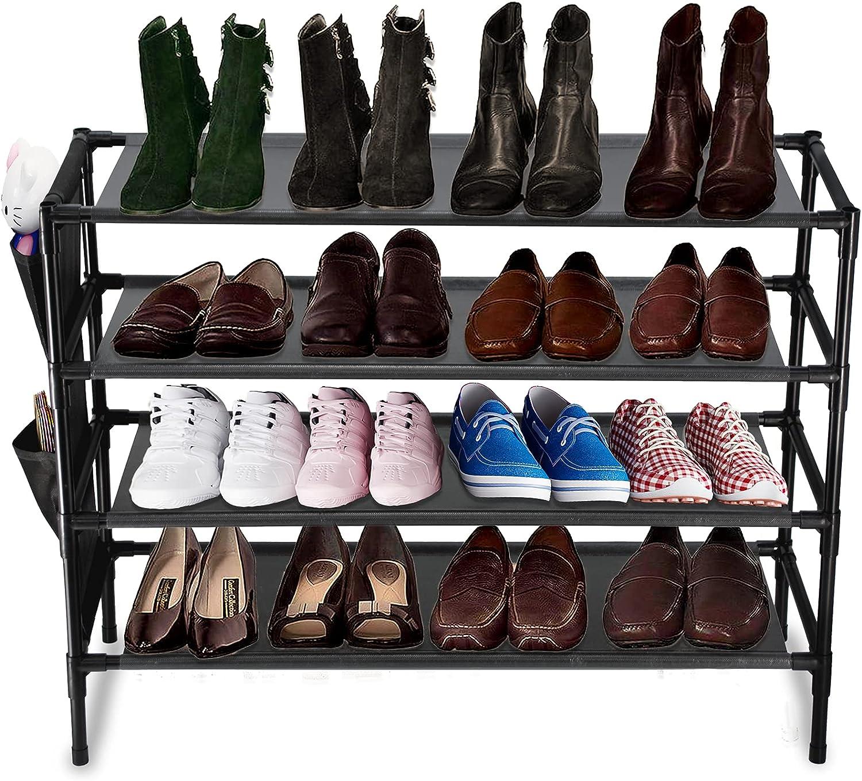 Sasoiky 4-Tier Shoe Rack, Stackable Shoes Shelf Storage Organizer, Sturdy Shoe Shelf with Side Shoes Pockets for Closet Bedroom Entryway (Black)