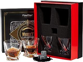 Finether Vasos de Whisky con Cubos de Hielo Reutilizables, Juego de 4 Vasos, 340ML/12.8 oz Vaso de Agua con Piedra, Vaso de Vidrio Transparente sin Plomo para Whisky, Cócteles, Jugo