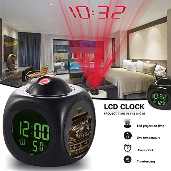 Alarm Clock Multi Function Digital LCD Voice Talking LED Projection Wake Up Bedroom With Data And Temperature Wall Ceiling Projection Owl 077 Corinthian Lidded Convex Pyxis With Panther And Owl 2