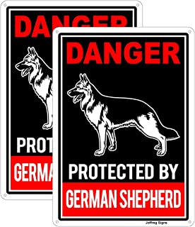 Joffreg Protected by German Shepherd Sign,Beware of Dog Sign,UV Protected and Weatherproof,Indoor Or Outdoor Use,20 x 30 c...