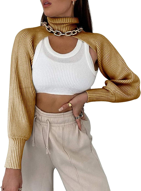 Artfish Women's Turtleneck Knit Pullover Sweater Long Sleeve Shrugs Sexy Backless Cutout High Collar Crop Top