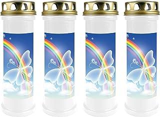 6er Pack Grabkerze 48h Grablicht Grableuchte Grab Kerze Grablampe Natur Weiß
