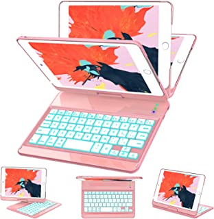 iPad Mini 5/ Mini 4 Keyboard Case - 7 Colors Backlit 360 Rotate 180 Flip Wireless Smart Folio Auto Sleep/Wake Hard Cover fit iPad Mini 5 2019(5th Gen)/ iPad Mini 4 2015, Rosegold