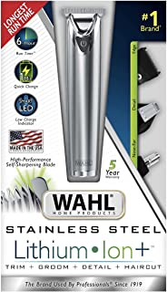 WAHL 9818-5001 Stainless Steel Lithium Ion Men's Multi Purpose Beard Facial Trimmer and Total Body Groomer