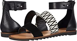 Black/White Suede/Multi Zig Webbing