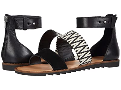 FRYE AND CO. Port 2 Band Sandal (Black/White Suede/Multi Zig Webbing) Women