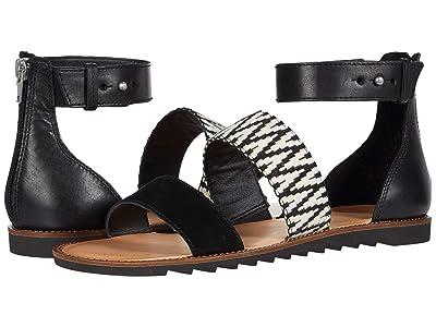 FRYE AND CO. Port 2 Band Sandal (Black/White Suede/Multi Zig Webbing) Women
