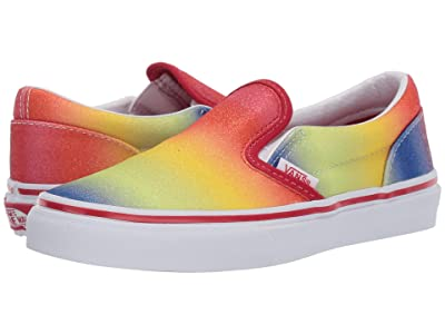 Vans Kids Classic Slip-On (Little Kid/Big Kid) ((Rainbow Glitter) Racing Red/True White) Girls Shoes