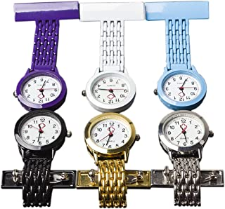 NURWAT Stainless Steel Nurse Doctor Medical Brooch Quartz Fob Pin-on Pocket Watch Purple/White/Blue/Black/Gold/Silver Good for Man and Women (Pack of 6)