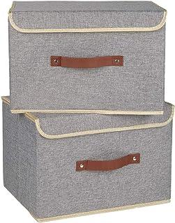 Tesslove Lot de 2 paniers de rangement pliables en tissu avec couvercle pour chambre d'enfant, placard, chambre à coucher,...