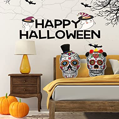 Halloween Throw Pillows Sugar Skull Couples Gifts The Day of The Dead Gothic Decor Halloween Decorations Throw Pillows for Co