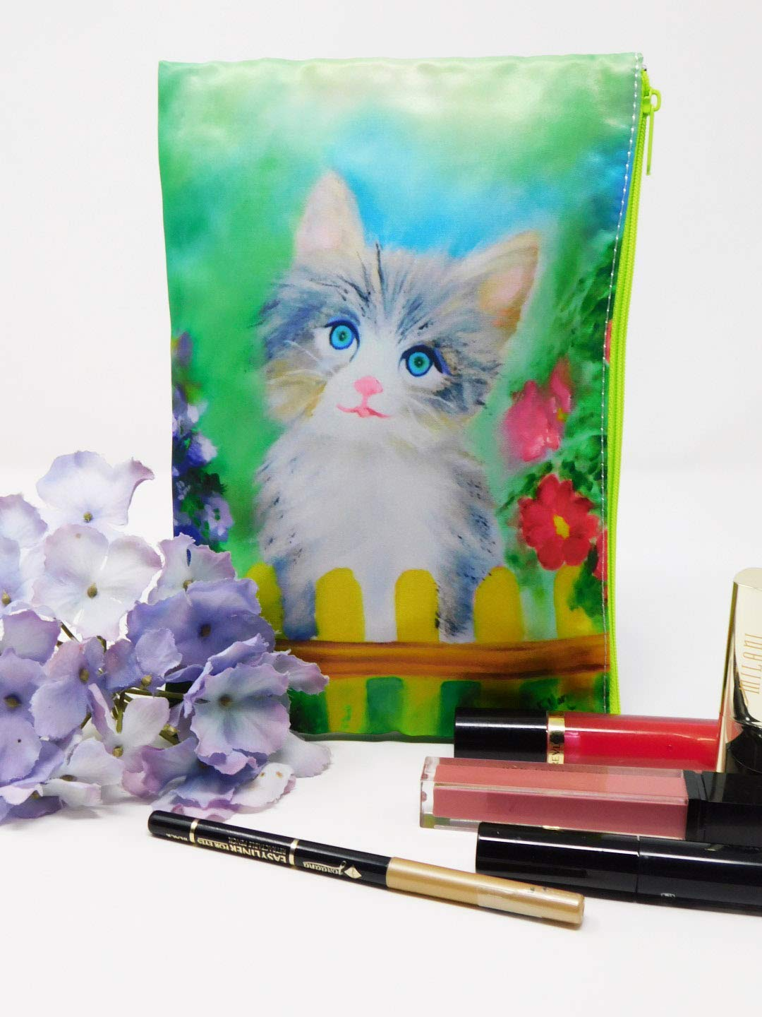 Cosmetic Makeup Bag Zipper Kitten High material Cat Use Purse Super Special SALE held Flowers Or Multi