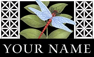 Toland - Dragonfly on Black Personalized/Customizable Indoor Outdoor Welcome Door Mat USA-Produced