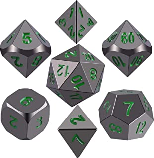 SIQUK Metal Polyhedral Dice Shiny Black Body and Dark Green Numbers Zinc Alloy Dice with Metal Case