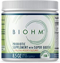 BIOHM Dr. Formulated Super Greens Superfood Powder with Probiotics, and Digestive Enzymes, 20+ Organic Green Whole Foods (...