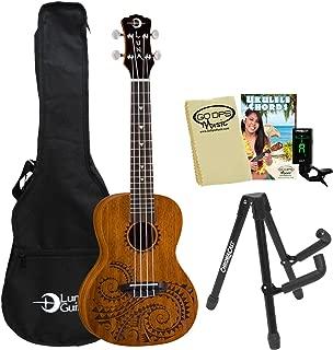 Luna Guitars Tattoo Concert Ukulele (UKE-TC-MAH) with Uke Stand, Tuner, Bag, Cloth and Quick Start Guide