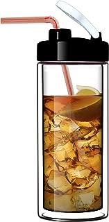 Glass Double-Wall Tumbler by Sun's Tea (TM) | 18oz Travel Mug with Lid | Ultra Clear (See-Thru) Borosilicate Glass