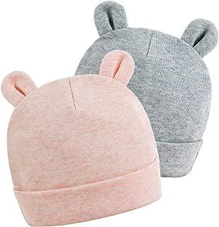 Newborn Baby Hats for Boys 0-6 Months Girls Beanies Caps 100% Cotton Unisex 2 Pack