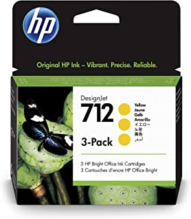 HP 712 Yellow 29-ml 3-Pack Genuine Ink Cartridges (3ED79A) for DesignJet T650, T630, T230, T210 & Studio Plotter Printers