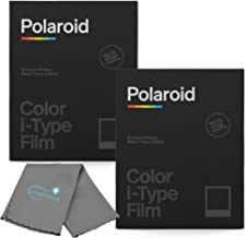 Polaroid Instant Color Film Black Frame Edition for i-Type Cameras 2 Pack, 16 Instant Photos Bundle with a Lumintrail Cleaning Cloth