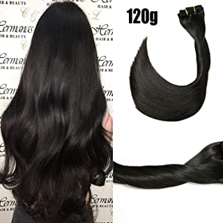 Clip in Hair Extensions 120 Grams/4.2 Ounce 100% Brazilian Remy Human Hair Extensions 9A Thickened Soft Silky Straight for Fashion Women 7pcs 17clips Full Head(20Inch Naturl Black #1B)