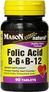Mason Natural Folic Acid, B-6 & B-12 Tablets 90 ea (Pack of 2)