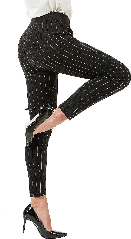 AUSIMIAR Women's Stripe Stretch Skinny Dress Pants,Super Comfy Pull-on Black Leggings for Work or Casual(Black)