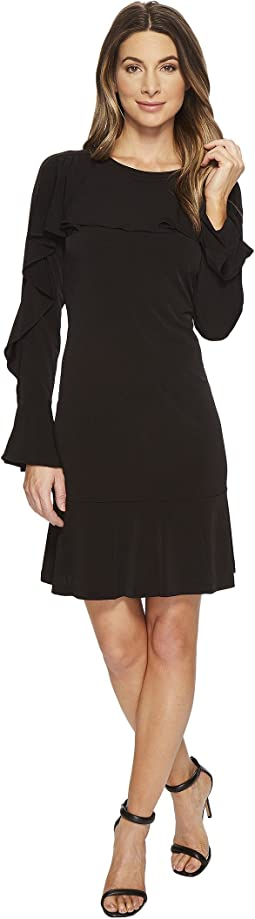 Flounce Panel Long Sleeve Dress