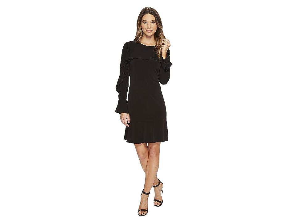 MICHAEL Michael Kors Flounce Panel Long Sleeve Dress (Black) Women