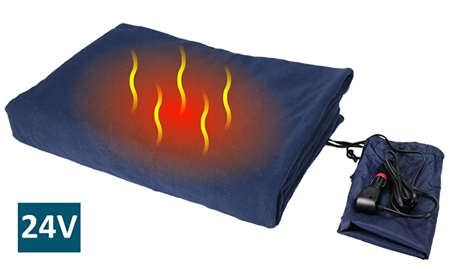 "ObboMed SH-4214 Deluxe Electric 24V 60W Luxurious Comfy Polar Fleece Heated Travel Blanket, Winter AC Accessory Essential, with Premium Cigarette Lighter Plug for Truck, Van, Boat, Size 61"" x 41.3"""
