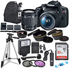 Canon EOS Rebel T7 Digital SLR Camera with Canon EF-S 18-55mm Image Stabilization II Lens, Sandisk 32GB SDHC Memory Cards ...