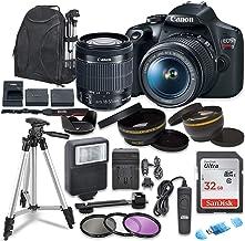 دوربین SLR دیجیتال Canon EOS Rebel T7 با لنز Canon EF-S 18-55 mm تثبیت کننده تصویر II ، کارت های حافظه Sandisk 32 GB SDHC با بسته لوازم جانبی Commander Optics