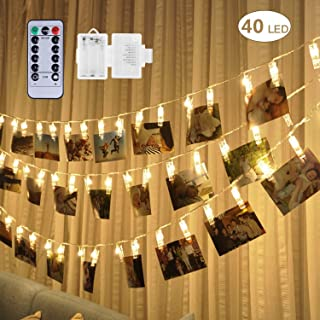 40 LED Photo Clip Lights - Adecorty 8 Modes Battery Powered Photo Clips String Lights with Remote & Timer, Cards Pictures Holder for Christmas Wedding Dorm Bedroom Decor (14.1ft, Warm White)
