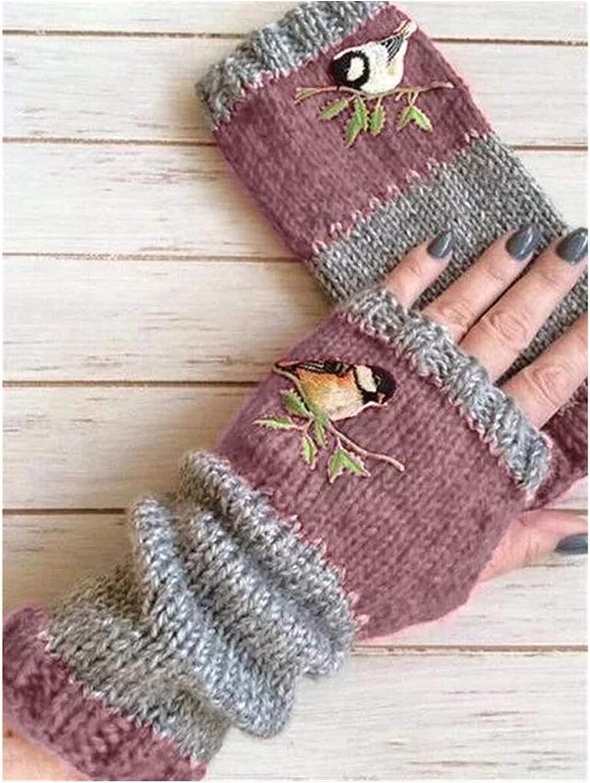 Jiaye Gloves Women Birds Embroidery Gloves Knitted Fingerless Plus Velvet Color Block Splice Mittens Womens Gloves Gloves (Color : Pink)