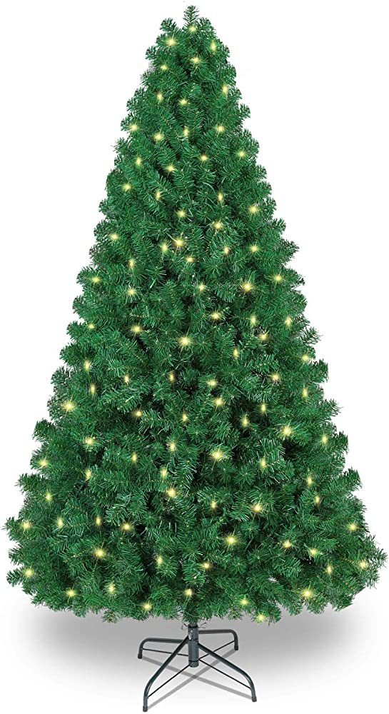 Shareconn albero di natale artificiale, pvc ago di pino  supporto in metallo, 1602 rami, 470 led SHareconn