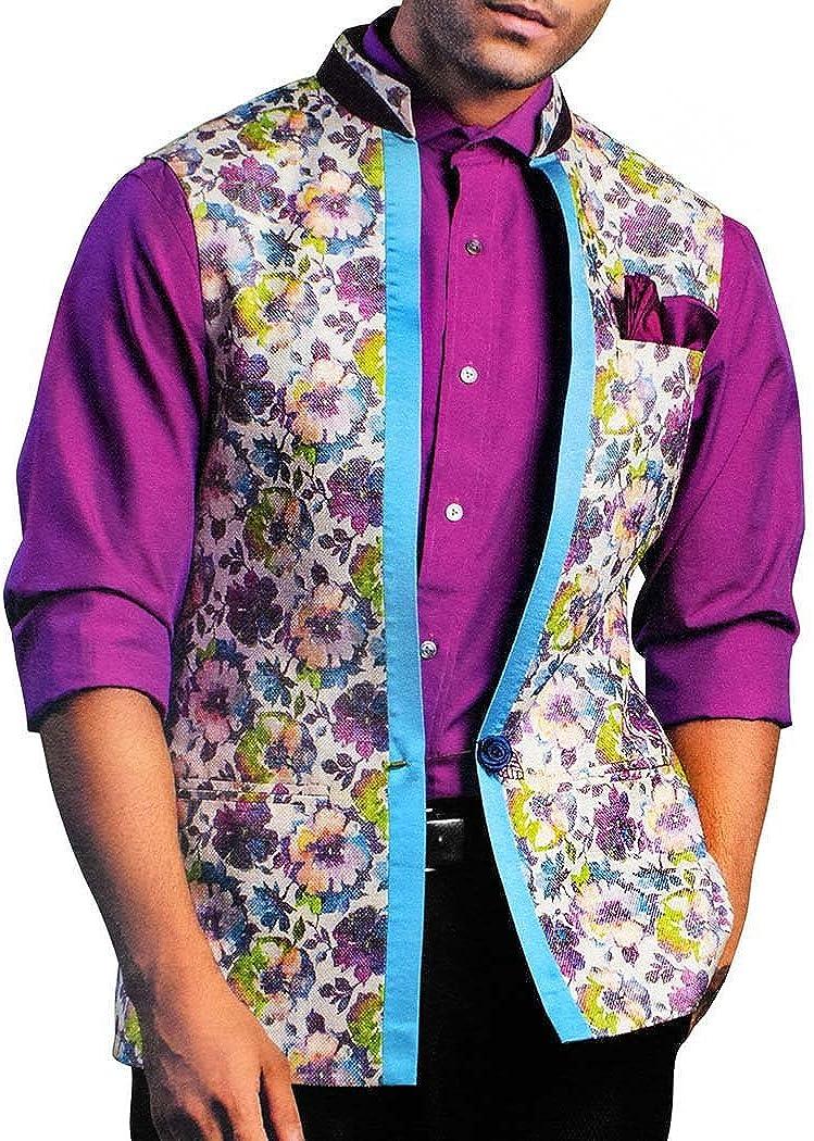 INMONARCH Mens Natural Color Nehru Vest Flower Print Modi Jacket NV80