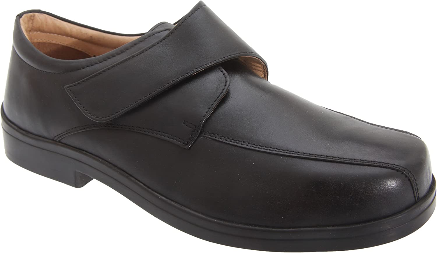 Mens Touch Fastening Shoes Mens Wide Fit Shoes Casual Shoes Comfort Shoes E Width Black//Brown