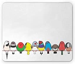 Birds on a Wire Mouse Pad, Colorful Happy and Singing Various Finches in a Row Perching on a Line, Standard Size Rectangle Non-Slip Rubber Mousepad, Multicolor