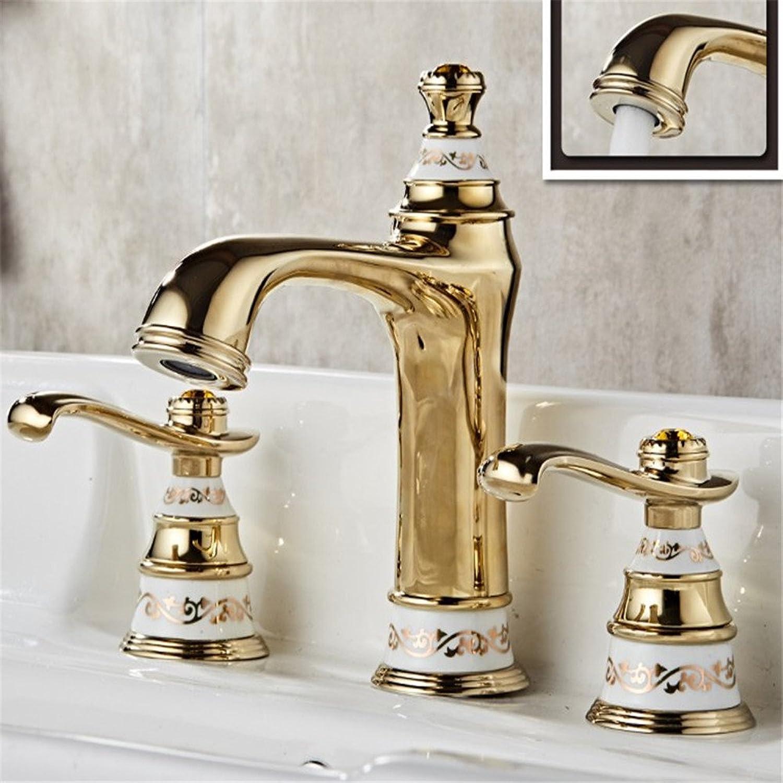 AOEIY Wasserhahn Küchen Mischbatterie Alle kupfer titan Gold doppel blau und wei porzellan teleskop Waschtischarmaturen Mixer Spültisch Armatur Bad Spülbecken badezimmer Küchenarmatur