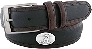 NCAA Alabama Crimson Tide Black/Brown Two Tone Stitch Leather Concho Belt