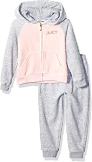 Juicy Couture 橘滋 女童连帽天鹅绒运动套装 2 件套