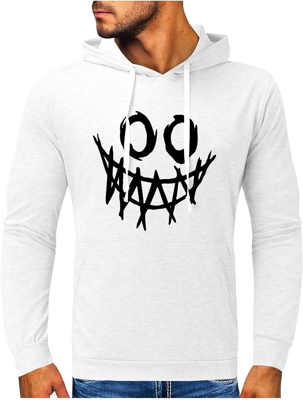XXBR Halloween Hoodies for Mens, Funny Skull Street Faith Jesus Cross Hooded Sweatshirts Athletic Basic Casual Pullover
