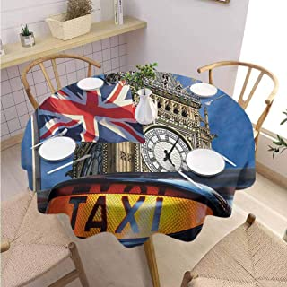 VICWOWONE Soft Round Tablecloth Union Jack Machine Washable Union Jack Flagon Pole and Big Ben Taxi Cab Urban Modern Country Symbols Image,Round - 71 inch Multicolor
