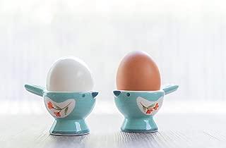 WD- FB38-2 Pcs Cute Bird Shape Ceramic soft or Hard boiled egg cup holder (Egg holder) - for Breakfast Brunch Soft Boiled Egg Holder Container Stand Set Sky color